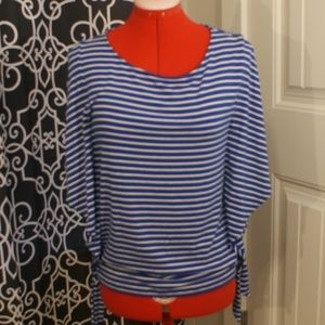 Blue and White Striped Chico's blouse